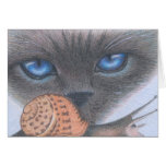 Siamese cat and snail Card