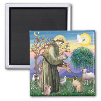 Siamese Cat and St Francis Magnet