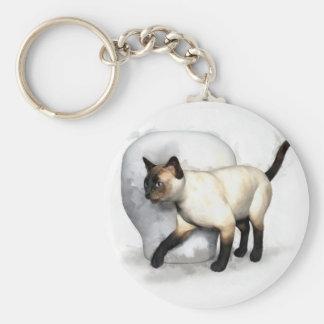 Siamese Cat and Vase Portrait Basic Round Button Key Ring