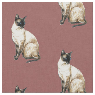Siamese Cat Art Fabric