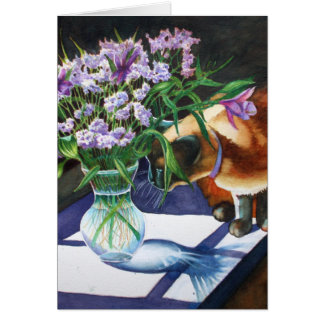 Siamese Cat Attacking Vase of Flowers Card