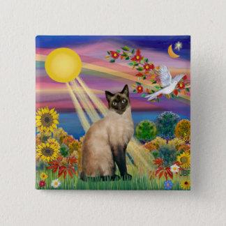 Siamese Cat - Autumn Sun 15 Cm Square Badge