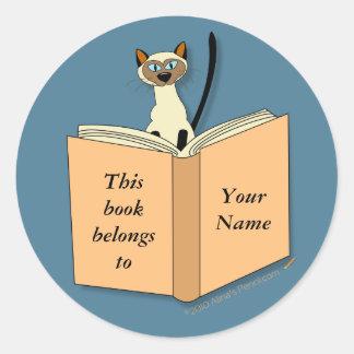 Siamese Cat Bookplate Template Round Sticker