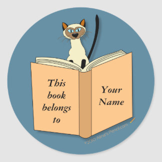 Siamese Cat Bookplate Template Round Stickers