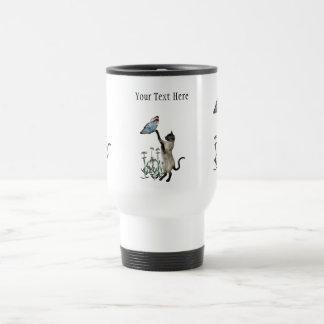 Siamese Cat Butterfly Daisies Travel Mug
