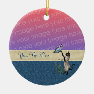 Siamese Cat Butterfly Your Photo Cute Ornament