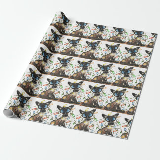 Siamese Cat Christmas Lights Wrapping Paper
