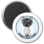 Siamese Cat - Crazy Cat Lady Fridge Magnets