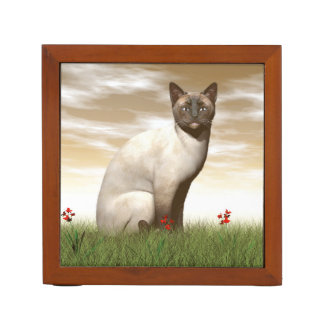 Siamese cat desk organiser