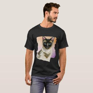 Siamese Cat Elegant Watercolor Painting T-Shirt
