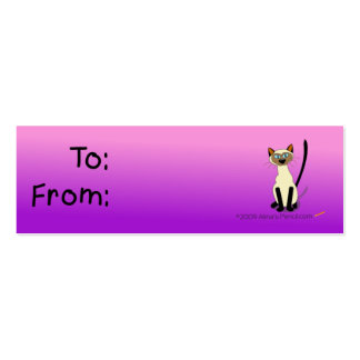 Siamese Cat Gift Tag (Pink and Purple) Business Card