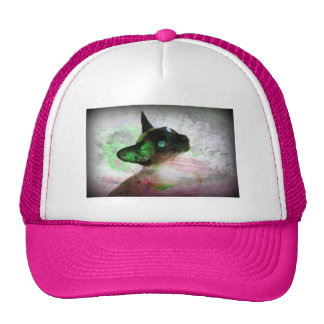 Siamese Cat Grunge Paint Mesh Hats