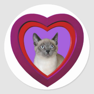 Siamese Cat Heart Sticker