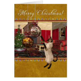 Siamese Cat - Merry Christmas Card