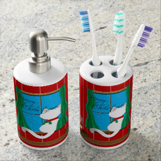 Siamese Cat Merry Christmas Toothbrush Soap Set Bath Accessory Sets