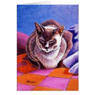 Siamese Cat on a Patchwork Quilt Card