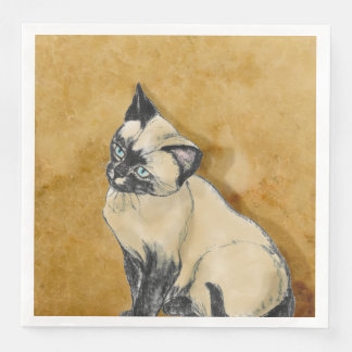Siamese Cat on Gold Disposable Napkins