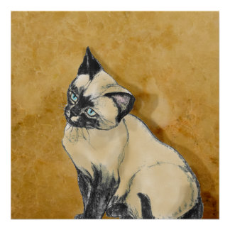 Siamese Cat on Gold Poster