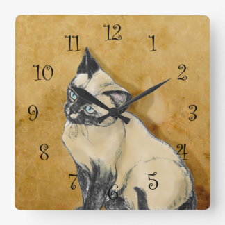 Siamese Cat on Gold Square Wall Clock