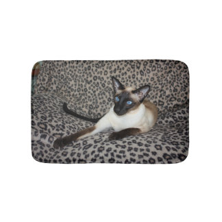 Siamese Cat on Leopard Print Wild Animal Spots Bath Mats