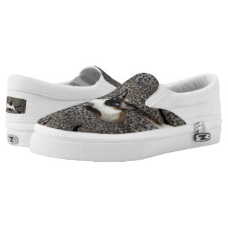Siamese Cat on Leopard Print Wild Animal Spots Printed Shoes
