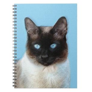 Siamese Cat Painting - Cute Original Cat Art Notebook