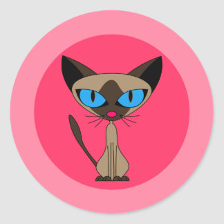 Siamese Cat, Pink Stickers