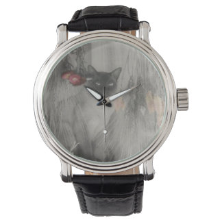 Siamese Cat Posing In Black And White Watch