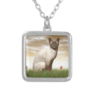 Siamese cat silver plated necklace
