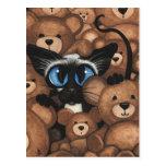 Siamese Cat Teddy Bear Hug by BiHrLe Postcards