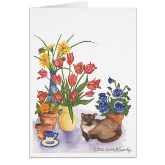 """Siamese Cat Tulips Pansies Watercolor """"Chester"""" Card"""