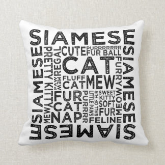 Siamese Cat Typography Cushion
