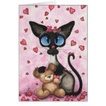 Siamese Cat Valentine Be Mine Bear by BiHrLe Card