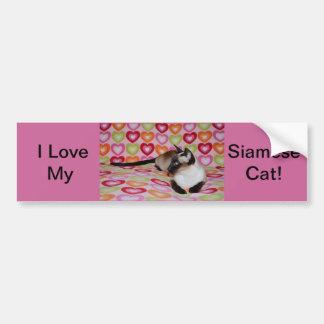Siamese Cat Valentine's Day Hearts Car Bumper Sticker
