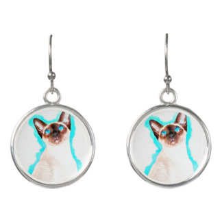 Siamese Cat Watercolor Art Earrings