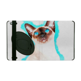 Siamese Cat Watercolor Art iPad Folio Case