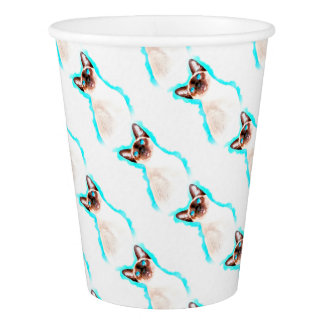 Siamese Cat Watercolor Art Paper Cup