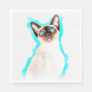 Siamese Cat Watercolor Art Paper Napkins