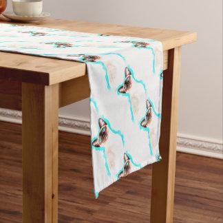 Siamese Cat Watercolor Art Short Table Runner