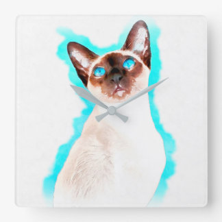 Siamese Cat Watercolor Art Square Wall Clock