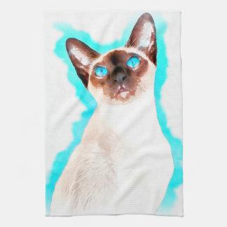 Siamese Cat Watercolor Art Tea Towel