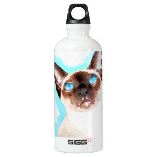 Siamese Cat Watercolor Art Water Bottle