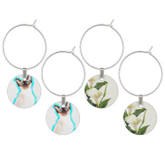 Siamese Cat Watercolor Art Wine Charm
