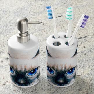 Siamese Cat Watercolor Bathroom Set