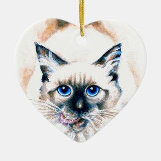 Siamese Cat Watercolor Ceramic Ornament