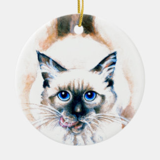 Siamese Cat Watercolor Ceramic Ornament