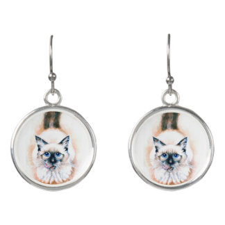 Siamese Cat Watercolor Earrings