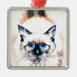 Siamese Cat Watercolor Metal Ornament