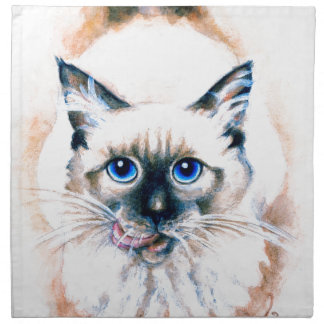 Siamese Cat Watercolor Napkin