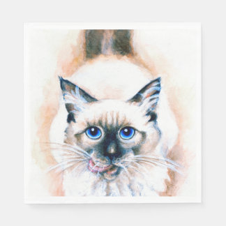 Siamese Cat Watercolor Paper Serviettes